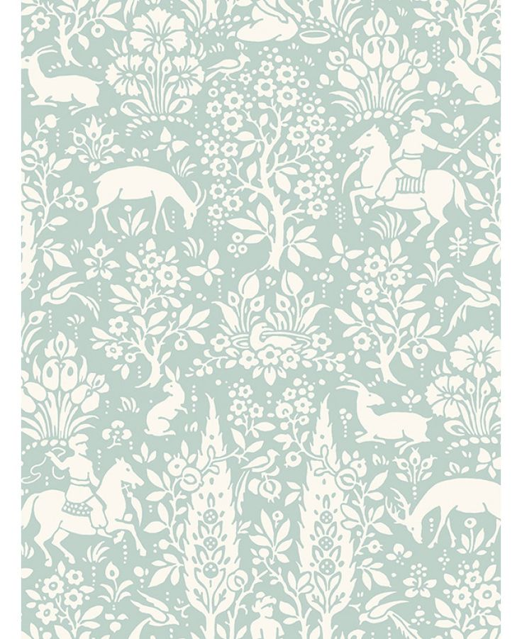 Crown Archives Woodland Wallpaper Duck Egg M1166 In 2020