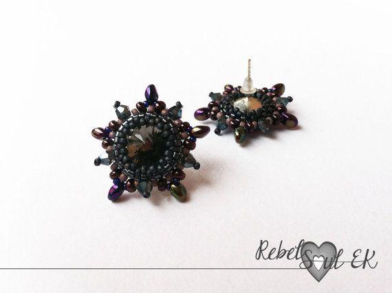 Sterling silver stud earrings violet grey stars by RebelSoulEK