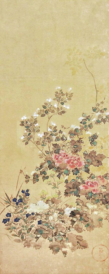 Flowers. Japanese painting on panel. Tawaraya Sotatsu (俵屋宗達). Rinpa School. edo Period. British Museum.