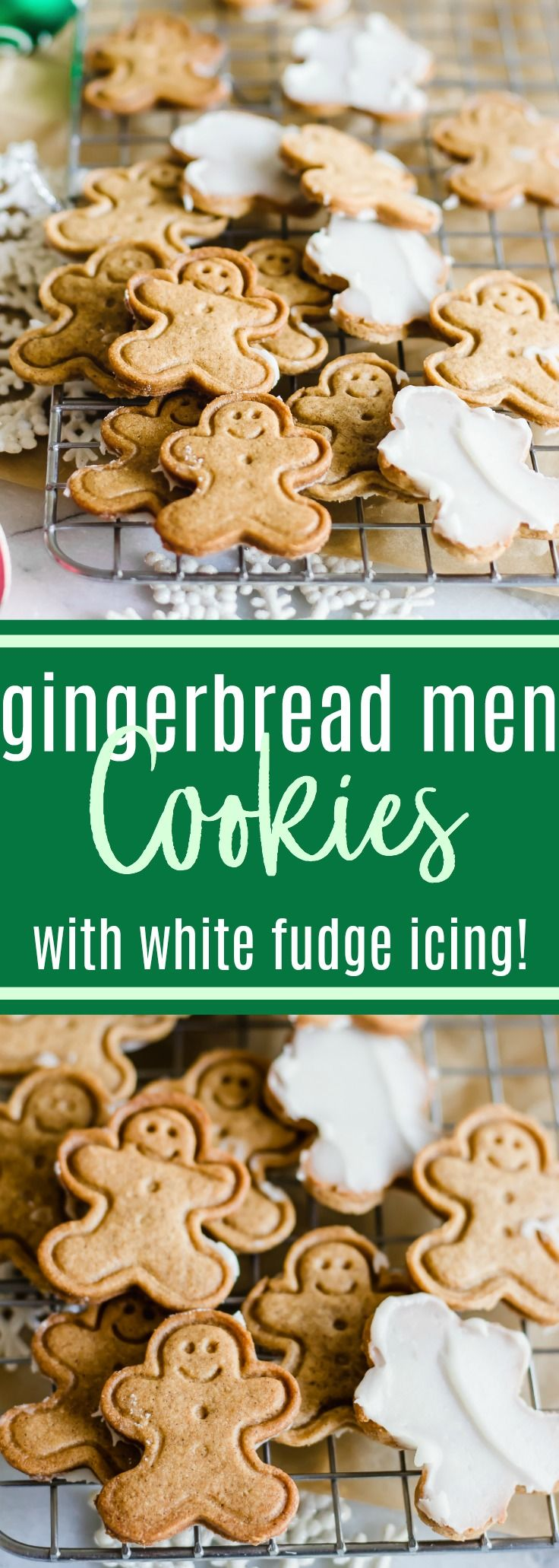 Gingerbread Men Cookies with White Fudge Icing. These little gingerbread men cookies are soft and crisp, perfectly sweet and spiced with cinnamon and ginger. The finishing touch is the white fudge icing on the back! A homemade take on a market favorite! #gingerbread #cookies #christmascookies #christmas #dessert