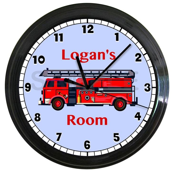 Personalized FIRE TRUCK wall clock Boy's Bedroom Wall Art Decor Fireman. $14.99, via Etsy.