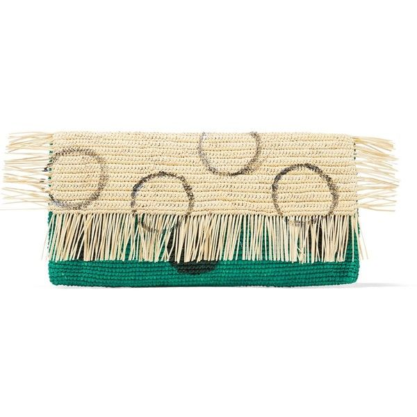 SENSI STUDIO   Frayed coated toquilla straw clutch (6.090 RUB) ❤ liked on Polyvore featuring bags, handbags, clutches, beige handbags, sensi studio, straw handbags, snap closure purse and cream purse