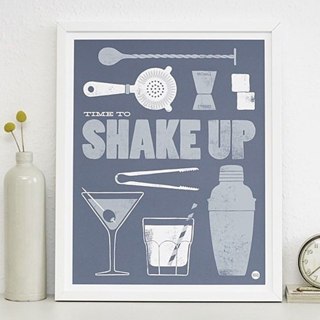 Time to shake up has been illustrated beautifully by Laura Seaby. Whether you're a fan of making or drinking cocktails, this print would make a great addition to any home bar. | huntingforgeorge.com