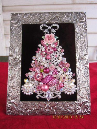 Framed Jewelry Christmas Tree Rhinestone Pearls 8 x 6 Pinks | eBay $36