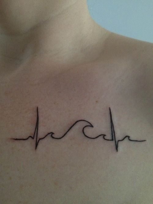 fuckyeahtattoos: Heart beat and waves. I swim and love the water. It simply…