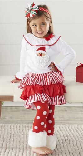 Mud Pie Girls Christmas Chenille Santa Applique Shirt and Cuffed ...