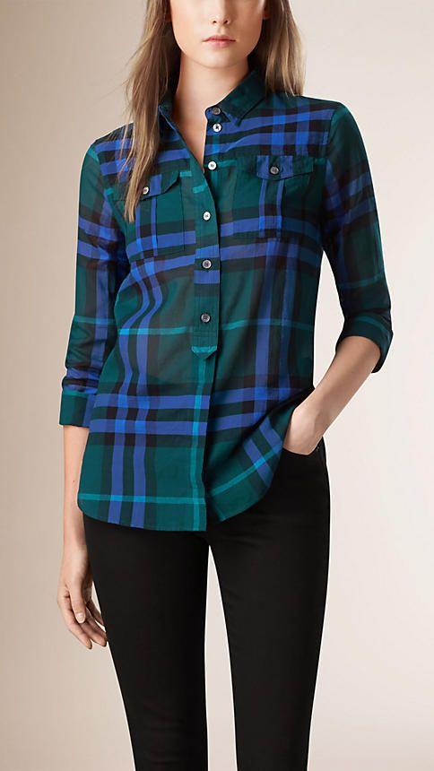 Verde azulado oscuro Detalle bolsito Compruebe camisa de algodón - Imagen 1