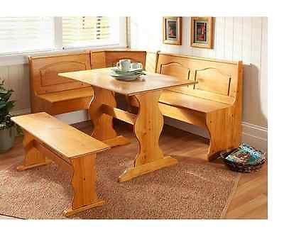 Breakfast Nook Dining Table Furniture Storage Wood Pine Bench Seating Corner NEW