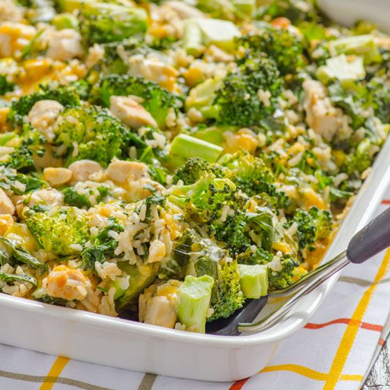 Skinny Chicken, Broccoli And Rice Casserole With Kale- No -4000