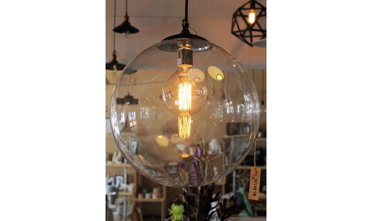 Mr Ralph   Glass Globe Pendant - 40cm - BLACK OR WHITE FITTINGS - ESSENTIALS, Pendants