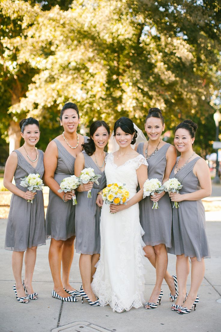 75 best glamorous gray images on pinterest marriage grey grey bridesmaid dresses with adorable striped shoes ombrellifo Image collections