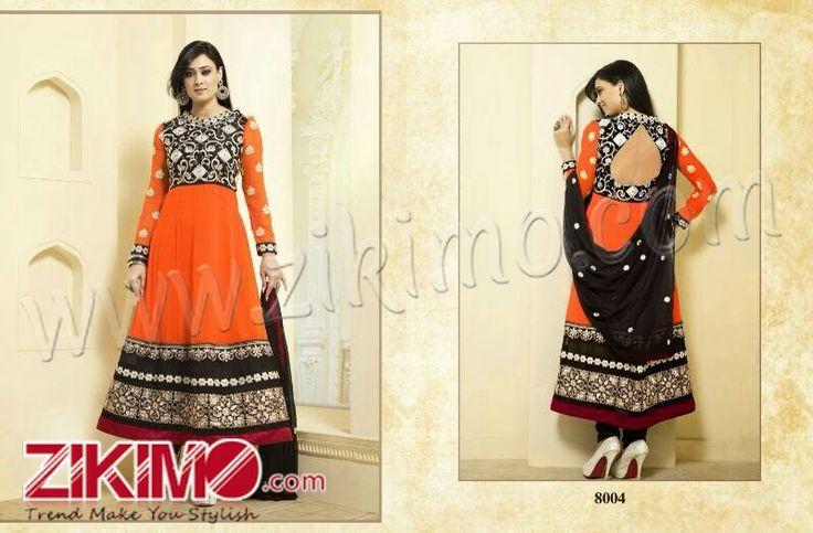 Heart Throbbing Orange And Black Shweta Tiwari Designer Party Wear Suit