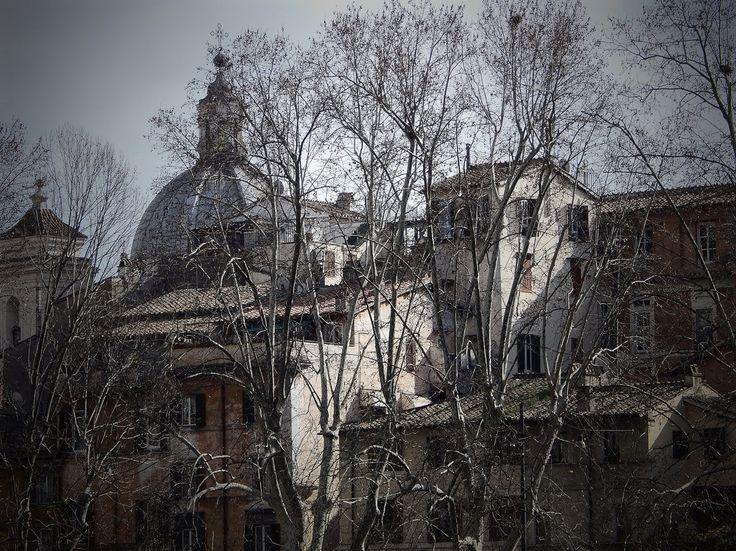 """Art print """"Angoli di Roma"""" Fine Art - Veduta invernale di alcune case sul Lungotevere Tor di Nona a Roma - arredamento da interno di IMMAGINEeIDEA su Etsy"""