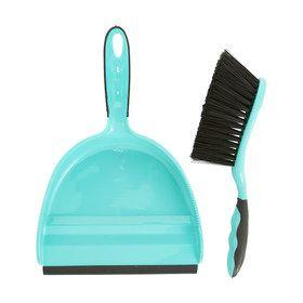 Rubber Lip Dustpan Set - Aqua