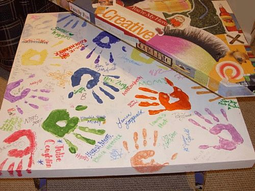Your kids and all their friends hand print and signature table