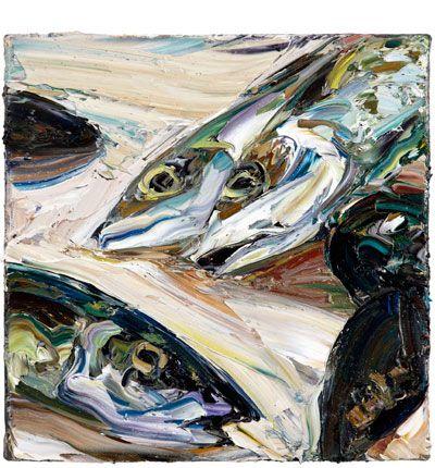 Still life (mackerel and mussels) 2011  Oil on Belgian linen 31x41cm  Nicholas Harding