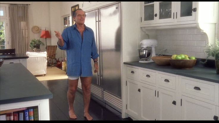 """Kitchen in the movie """"Something's Gotta Give.""""  This is on the left side of the kitchen.  The family room is in the background and Jack is facing the door to the back yard."""