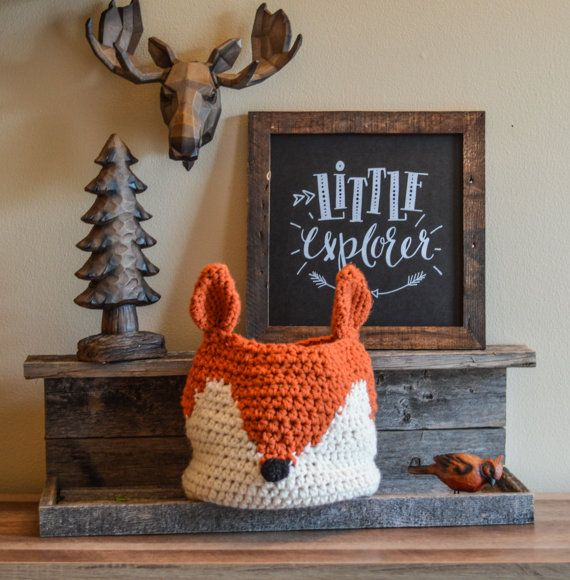 Fox basket, crochet fox Nursery decor, woodland nursery camping room decor