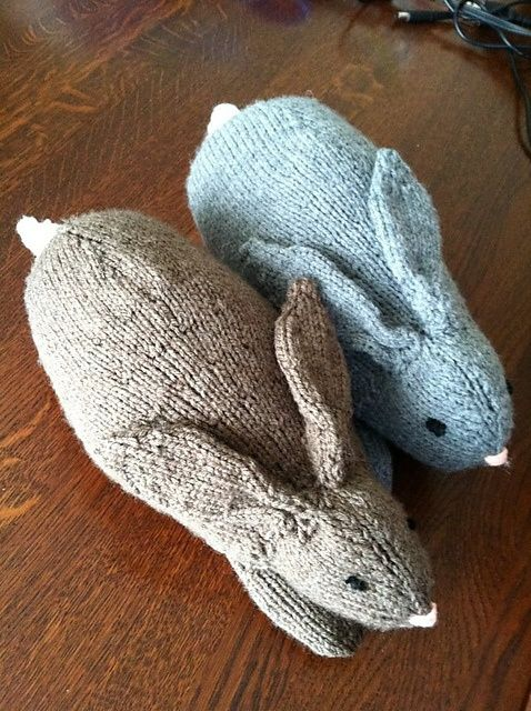 Knitted bunnies - pattern here http://www.ravelry.com/patterns/library/henrys-rabbit