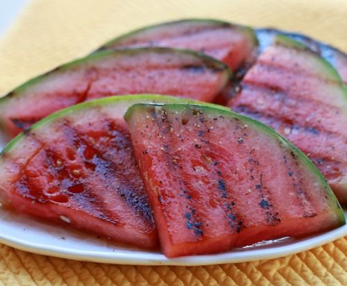 Honey Glazed Grilled Watermelon.  I think I would like to try this with some Basalmic Vinegar Glaze as well....nom, nom, nom