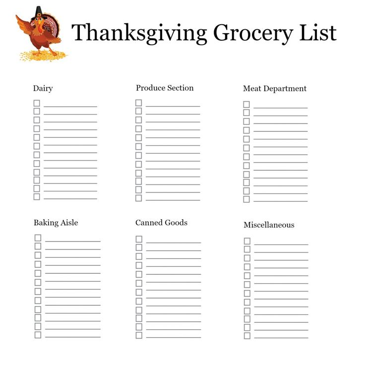 Best  Thanksgiving Shopping List Ideas On
