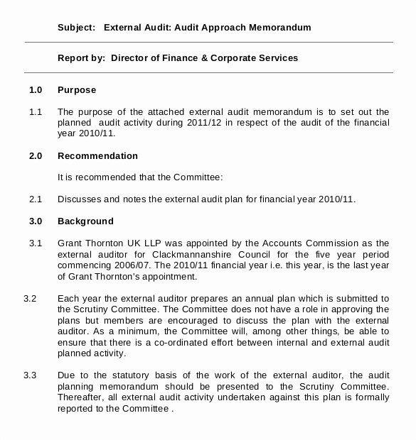 Internal Audit Plan Template Inspirational 19 Audit Memo Templates