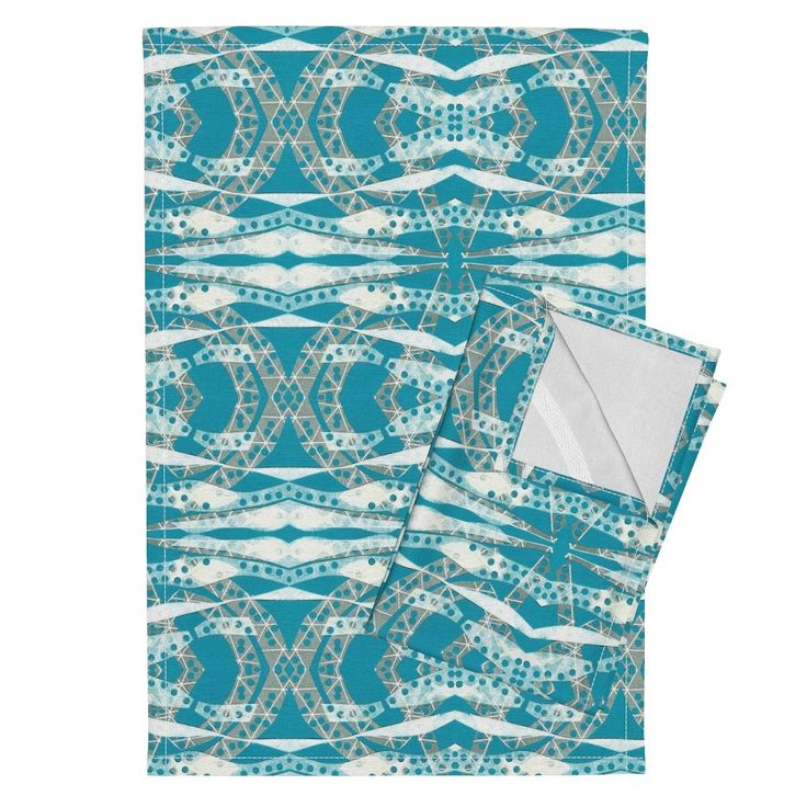 Orpington Tea Towels featuring Turquoise Collage Waves by joancaronil | Roostery Home Decor