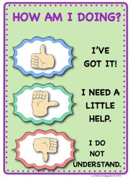 Here are some posters to help your students check themselves for understanding.  They simply show you the appropriate hand signal to show you how they feel. They will show you if they feel like they understand what is being taught in the classroom (or the directions to an assignment), if they need a little more help or if they do not understand at all.There are signs to hang in the room for visual reminders of what each signal is and what they mean.