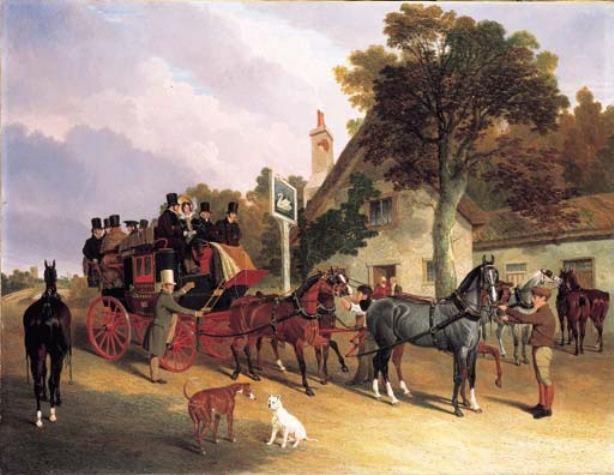 The London-to-Leeds Stage Coach Changing Horses at the Swan Inn, Battisham, Cambridge by John Frederick Herring, British, 1795-1865.