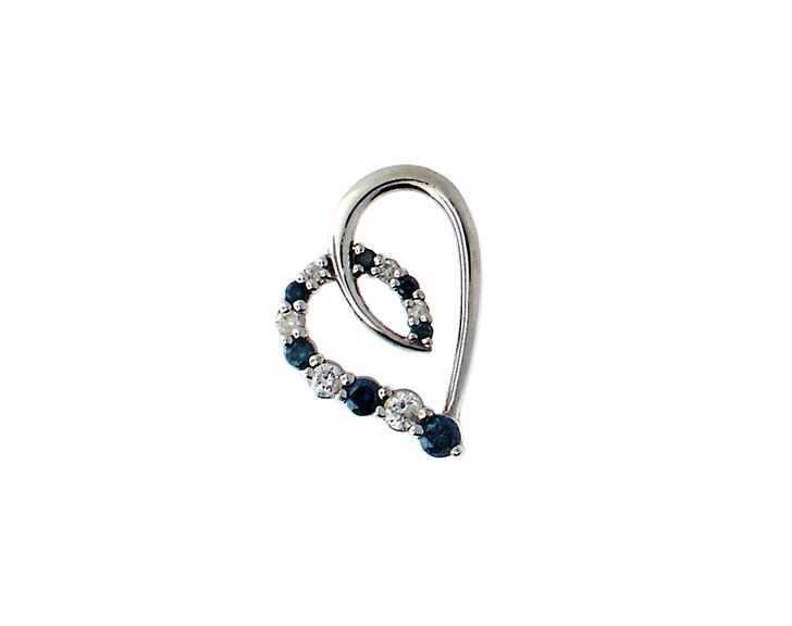 14k white gold heart slider pendant with white and enhanced blue diamond $200.00