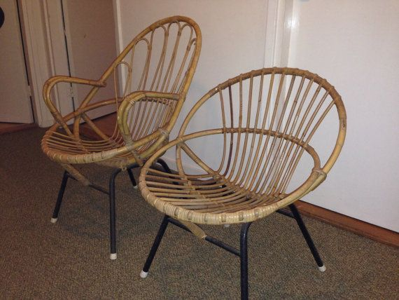 Stylish Mad Men 60s /// Rohe Noordwolde /// Rattan Bamboo Chair /// Round  Discs Low Back /// Wicker