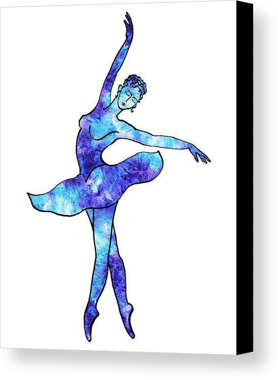 True Beauty http://irina-sztukowski.pixels.com/products/ballerina-silhouette-blue-frost-dance-irina-sztukowski-canvas-print.html #watercolor #silhouette #ballerina #dancie #beauty #blue