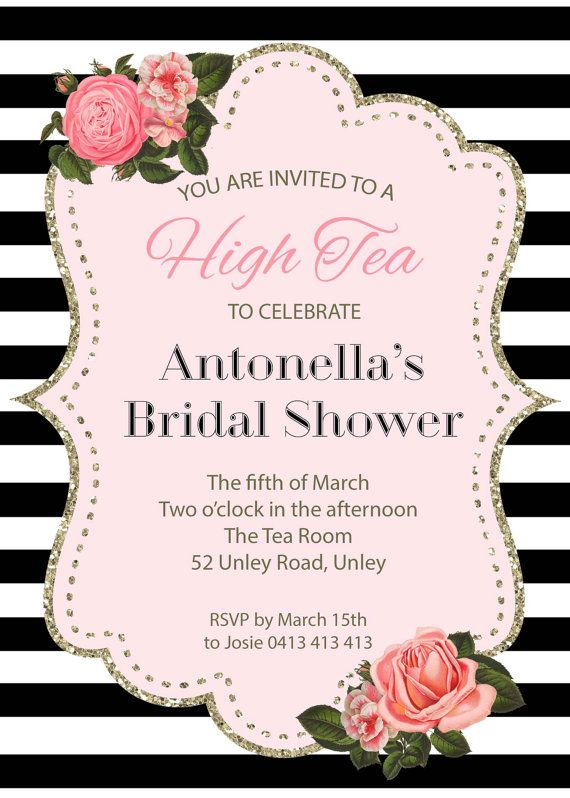 Black and White Floral with Gold High Tea by LittleInvites on Etsy