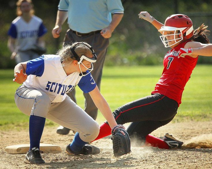 Scituate second baseman Olivia Dwyer reaches for the ball as North Quincy's Sam Smith slides safely into second as North Quincy hosts Scituate in high school softball on Thursday, May 12, 2016. — Gary Higgins/The Patriot Ledger