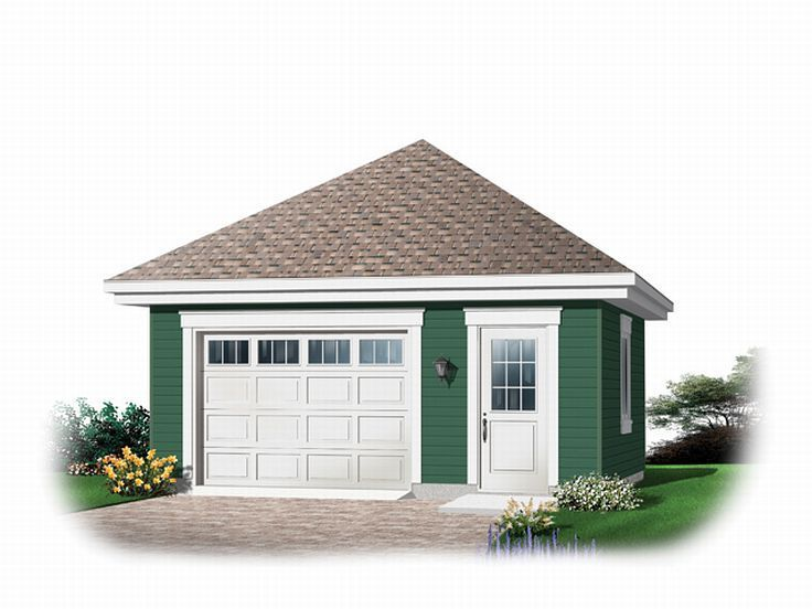 60 best 1 car garage plans images on pinterest car for Hip roof garage plans