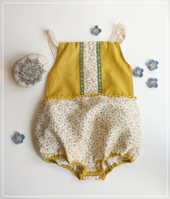 Summmer boho hippie baby romper with lace and by JuniperAndGypsy