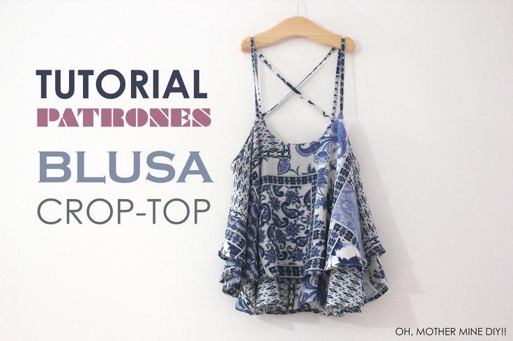 DIY Tutorial Blusa Crop-Top mini (patrones gratis) | COSTURA ...