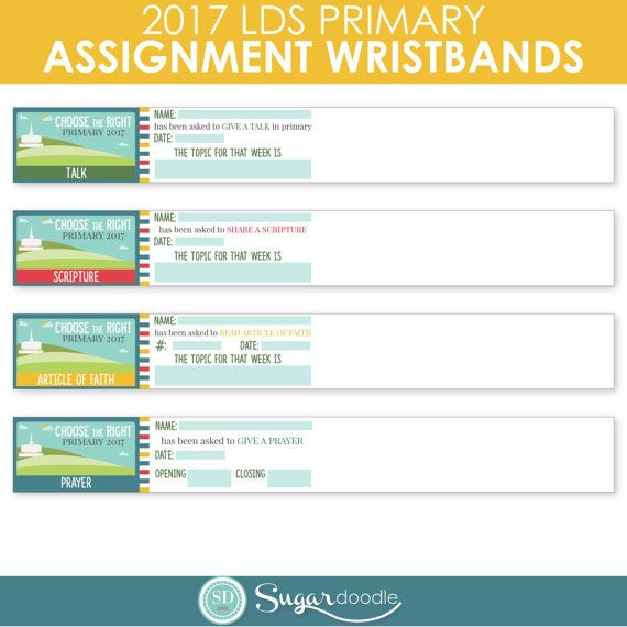"These colorful Sharing Time Assignment Wristbands are a fun and EASY way to remind the children and their parents about their upcoming assignments. Each wristband is 8""x1"". Four PDF pages are included in this INSTANT DOWNLOAD and each page has 10 wristbands."