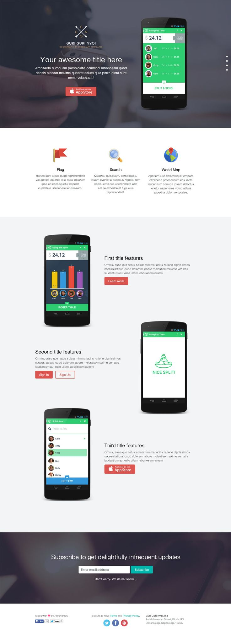 The perfect layout to Promote an App or an App development business. Guri Guri Nyoi_Screen 1