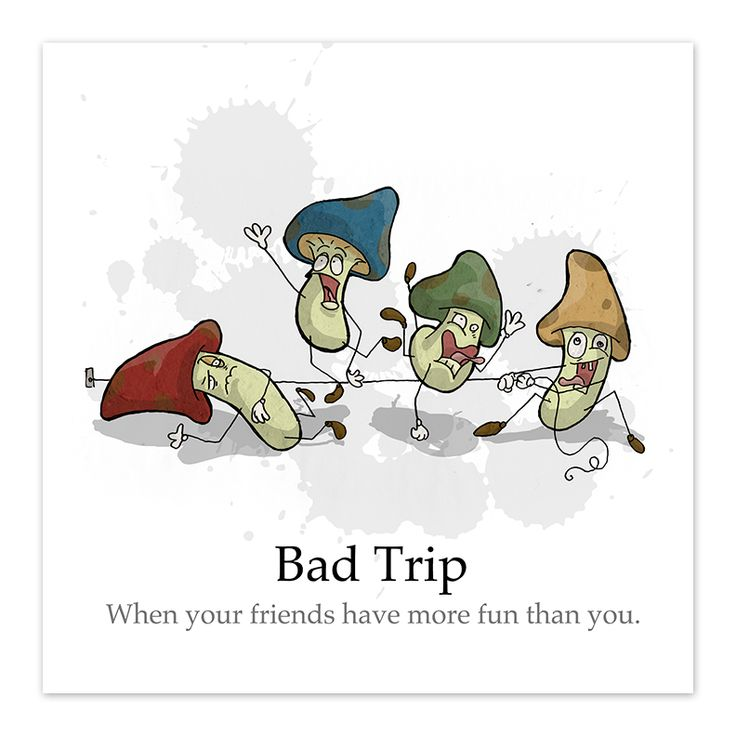 """""""Bad Trip - by Denis Caron - 8x8 Print - Corvink"""" We be trippin'. In Unconscious Ink Tags Mushroom, Drugs, Food"""