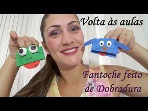 Lembrancinha de Volta às aulas: Fantoche de dobradura - YouTube