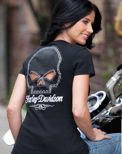 Womens Harley Davidson Skull Key Hole Shirt on Back