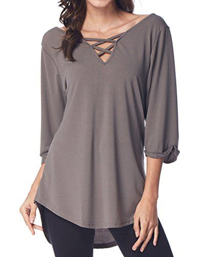 7ab45c6d51e70 GAMISS Women s Tunic Top Casual Chiffon Blouse Criss Cross V Neck T-Shirt  Cuffed Long Sleeve Tees
