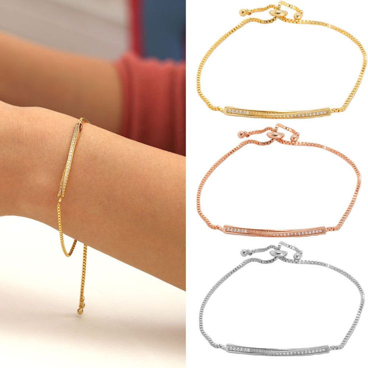 New Silver Rose Gold Gold tone twisted bar Adjustable Tennis link chain Bracelet #TheClinda #Bangle