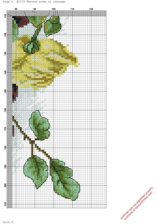 Cross stitch - flowers: Yellow roses and plums (chart - part B2)