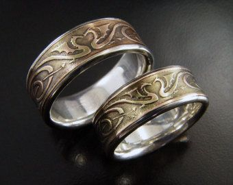 dragon wedding ring wedding ring set silver amp bronze etched 3678