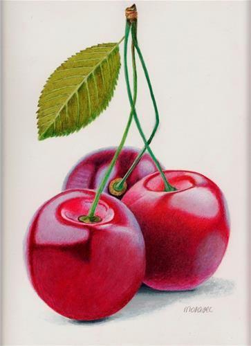 """Daily Paintworks - """"Cherry Triple"""" - Original Fine Art for Sale - © Dietrich Moravec"""