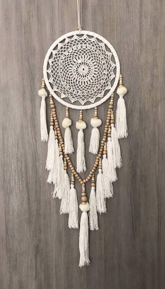 White Dreamcatcher, Crochet Dreamcatcher, Dream Catcher Bead, Doily Dream …