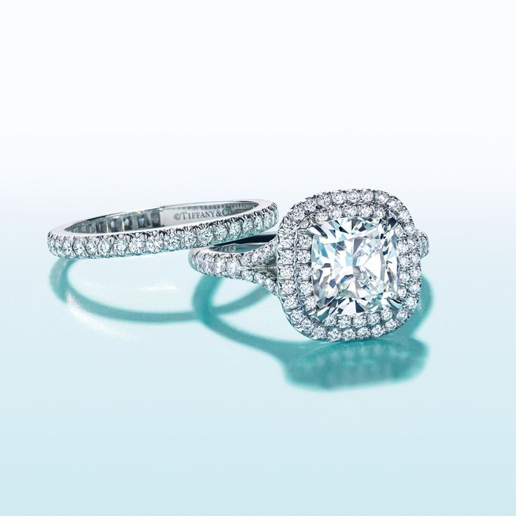the tiffany soleste engagement rings bead set diamonds create a halo effect when paired - Tiffany Wedding Ring