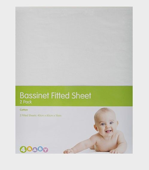 4Baby 2 Pack Bassinetinet Fitted Sheet White